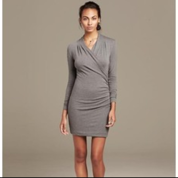 Banana Republic Dresses   Skirts - Banana Republic Heritage Gray Knit Faux Wrap  Dress c1babadc9
